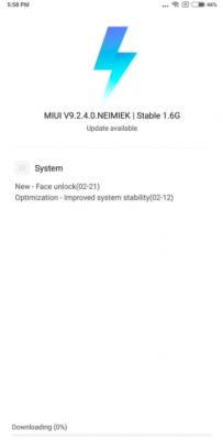 Обновление MIUI 9.2.4.0 с Face Unlock