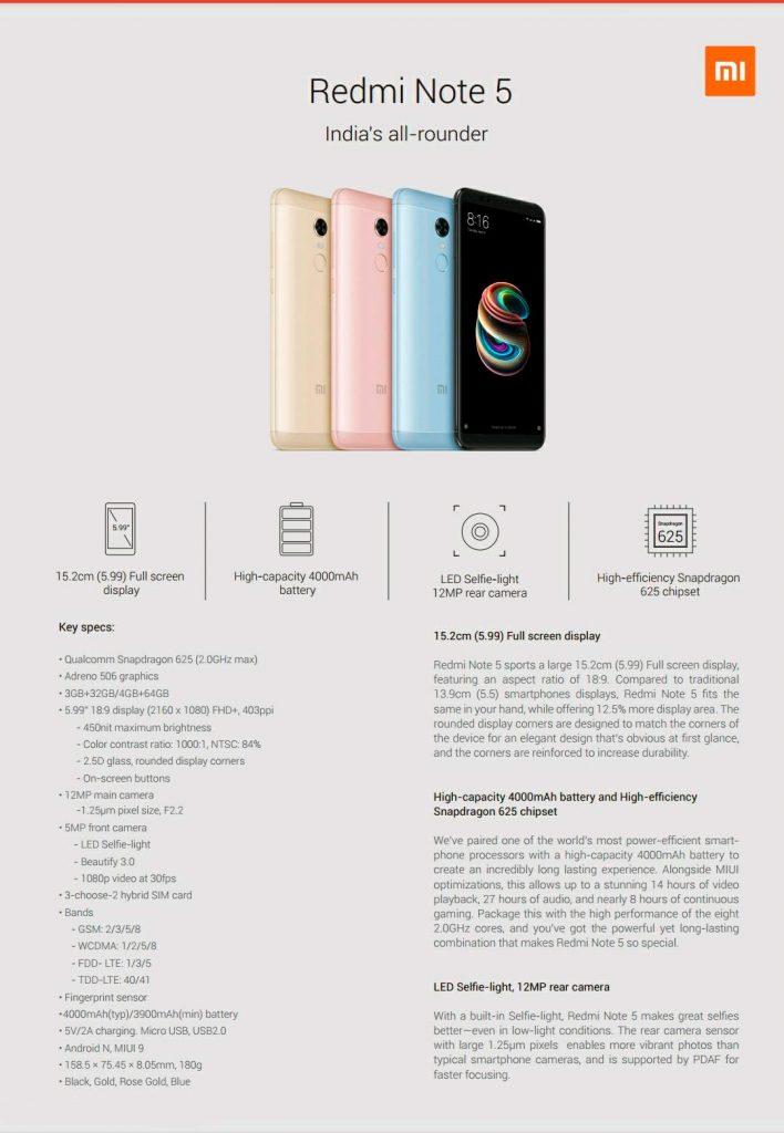 Технические характеристики Xiaomi Redmi Note 5