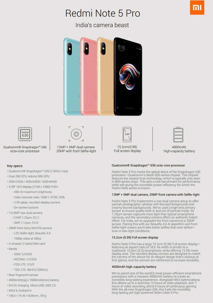 Технические характеристики Xiaomi Redmi Note 5 Pro