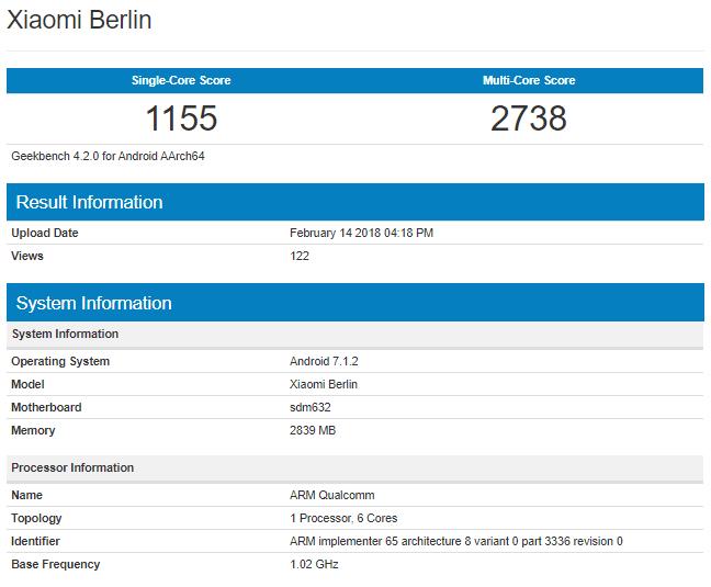 Технические характеристики Xiaomi Berlin
