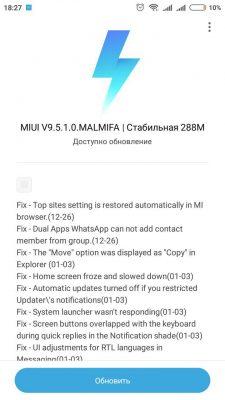 MIUI 9.5.1.0 MALMIFA для Redmi 3S