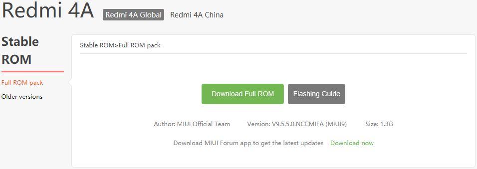 MIUI 9.5.5.0 для Redmi 4A на официальном сайте